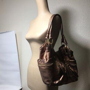 B. Makowsky Large Bronze Leather Hobo Shoulder Bag